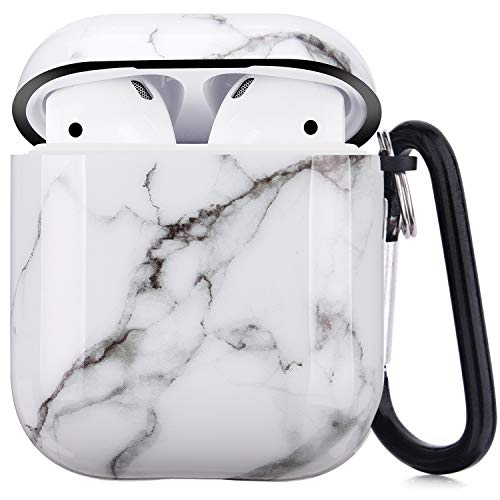 Airpods Case - LitoDream White Marble Protective Hard Case Cover Skin Portable & Shockproof Women Girls Men with Keychain for Apple Airpods 2/1 Charging Case - White