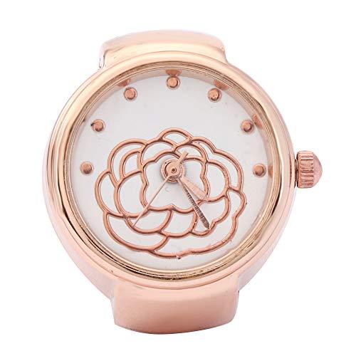 Orologio ad anello con quadrante rotondo, orologio al quarzo, in oro/oro rosa con fiore rosa, per la maggior parte dei compleanni di donne e ragazze (oro rosa)