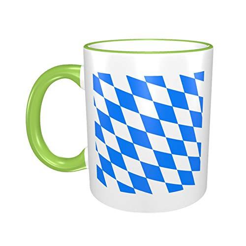 Weiße Keramik-Kaffeetasse mit bayerischer Flagge, 325 ml, Grün, Einheitsgröße