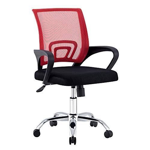 Nordic Time 1 Computerstuhl, Bürostuhl, 360 Grad drehbarer Spielstuhl, bequeme große Sitzfläche & Rückenlehne + Hebearmlehne (rot4)