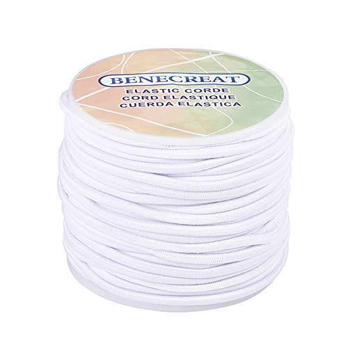 BENECREAT 3mm 20 Yard Elastic Cord Stretch Thread Beading Cord Fabric Crafting String (3mm, White)