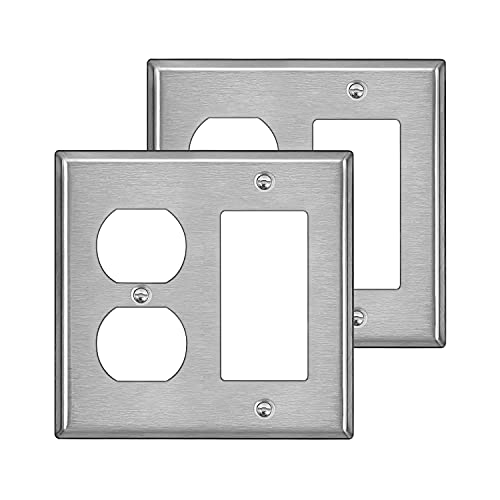 [2 Pack] BESTTEN 2-Gang Combination Metal Wall Plate with White or Clear Plastic Film, 1-Duplex/1-Decor, Anti-Corrosion Stainless Steel Outlet and Switch Cover, Standard Size, Brushed Finish, Silver