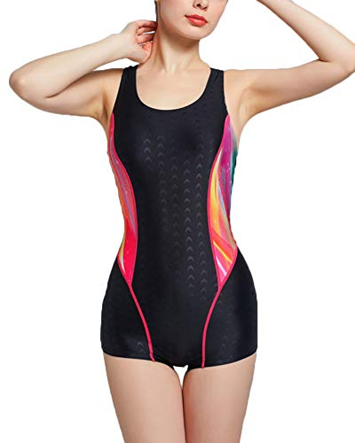 Aden Badeanzug Sportbadeanzug Schwimmanzug Bademode Damen Einteiler Badeanzüge Mit Boyleg