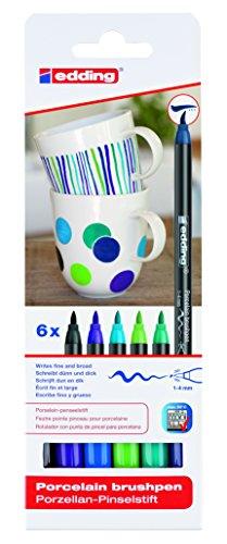 edding 4200 Porzellan Pinselstift (auch für Glas und Keramik). Kalte Farbtöne mit 6 Stiften. Zum spülmaschinenfesten bemalen und beschriften von Geschirr, Tassen und Gläsern.