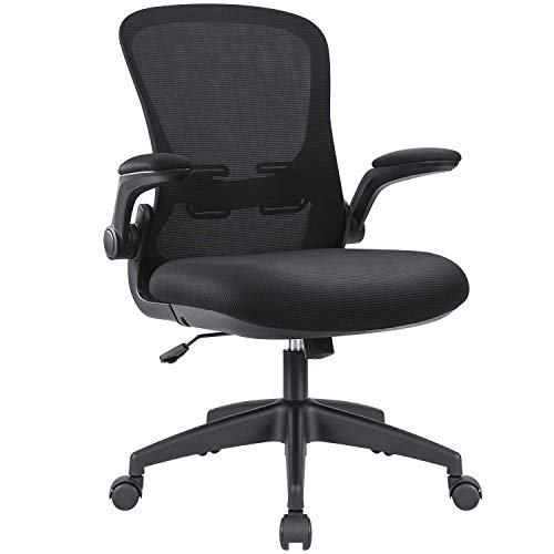 Devoko Office Desk Chair Ergonomic Mesh Chair Lumbar Support with Flip Up Arms and Adjustable Height (Black)