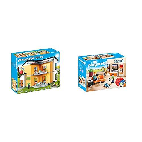 PLAYMOBIL City Life Casa Moderna, con Efectos de Luces y Sonido, a Partir de 4 Años (9266) + City Life Salón, con Efectos de Luz, a Partir de 4 Años (9267)