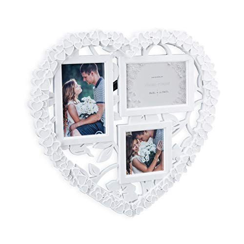 Relaxdays Cornice Multifoto A Cuore, In Formato Verticale O Orizzontale 10x10, 10x15, Regalo Per Matrimonio, Bianco, Pp, Vetro, 38 x 41 x 2 cm