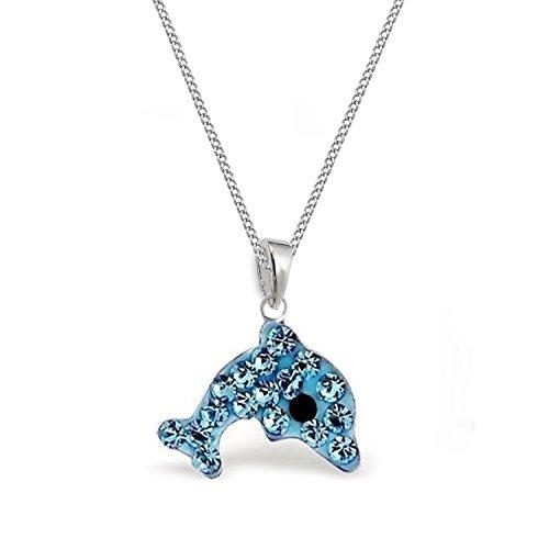 GH* Collana da bambina con ciondolo a forma di delfino, in argento Sterling 925, colore: blu acqua e Argento, cod. TZ00101