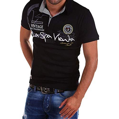 Celucke Polohemd Besticken Poloshirt Herren Mit Coole Print, Männer T-Shirt Kurzarm Polo Hemd Basic Shirt Freizeit Polohemden Kurzarmhemd Herrenhemden Sweatshirt Kurzarmshirt (Schwarz,L)