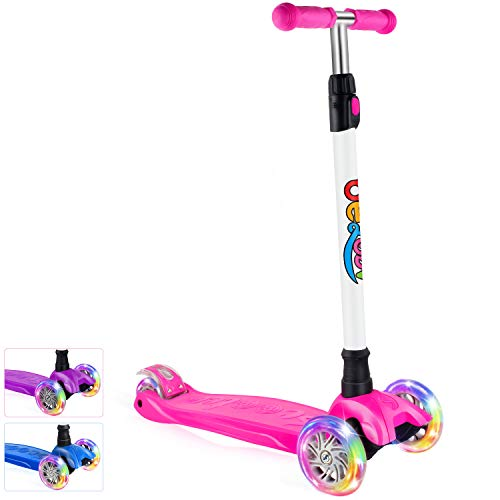 BELEEV Kick Scooter for Kids 3 Wheel Scooter, 4 Adjustable Height, Lean to Steer...