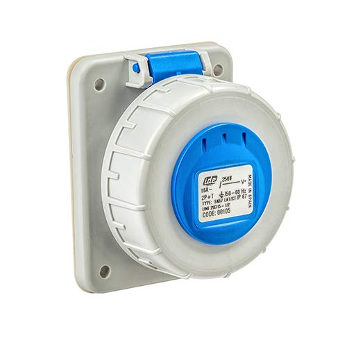 Base enchufe industrial hembra 2P+T 250V IP67 empotrar 16 A Azul