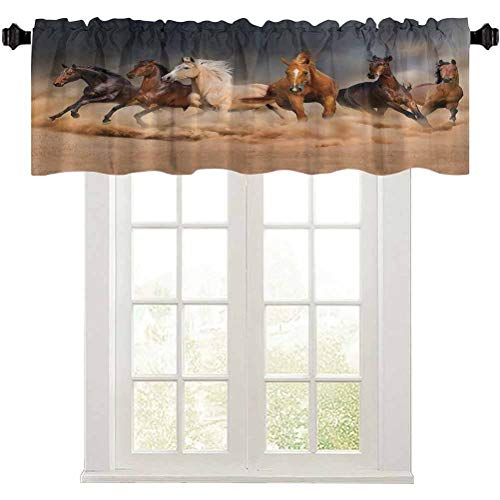 Aishare Store Valance Curtain for Windows, Masculine Running Horses Southwestern Gifts for Equestrians Farm, 1 Panel 36' x 18' Window Curtains for Kitchen Living Dining Room