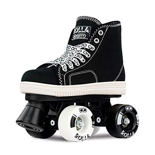 Crazy Skates Rolla Roller Skates for Boys and Girls - Sneaker-Style Kids Quad Skates Black (Size: US Mens 3 | US Ladies 3 | EU 34)