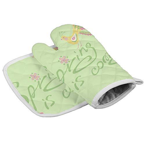 Bearget Lente komt teken op de licht groene oven wanten en pannenlappen hittebestendige oven Mitt anti-slip handschoenen voor het koken bakken grill