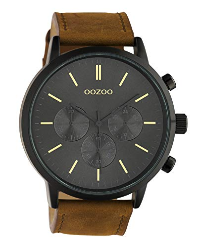 Oozoo herenhorloge chrono look met lederen band 48 MM zwart/bruin C10543