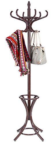 Wood Standing Hat Coat Rack Jacket Bag Hanger Tree 12 Hooks w Umbrella Stand