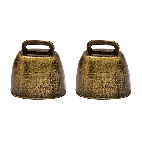 Toyvian DIY Machen Perlen Kuhglocken Krachmacher Jangle Glocke Charme für Frauen Mädchen DIY Bastelbedarf 2 Stücke (Bronze)