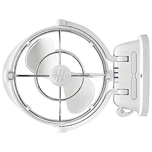 Sirocco II Fan from Seekr by Caframo. 12V /24V DC. Gimbal Fan for Boat or RV. White, 3.5 x 9.5 x 12 inches
