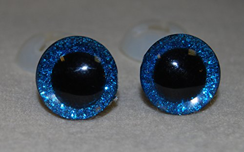 Teddybär-Augen mit Schrauben aus Kunststoff, 3D, Sicherheitsaugen für die Herstellung von Spielzeug und Teddybären, 20mm, 1Paar, blau, 20 mm