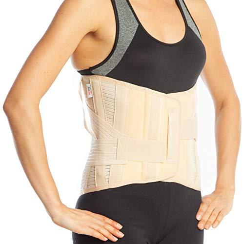 Medical - Férula para espalda LumboSacral apoyo cinturón - 32 cm de tamaño - Parte inferior de la espalda Lumbar (L, beige)