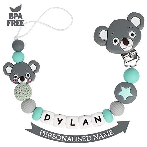 Attache Sucette Nom Personnalisé Prenom Silicone Koala Clips factices Anneau de Dentition pour Garçons et Filles Bébé Sans BPA (Gris Foncé)