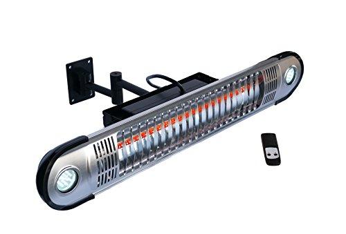 EnerG+ HEA-21533 - Calefactor eléctrico infrarrojo para exteriores, montaje en pared con LED y mando a distancia, color plateado