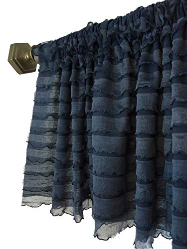 Navy Blue Sheer Ruffled Valance Modern Farmhouse Dainty Window Treatment Curtain, for Kitchen, Living Room, Bedroom, Nursery, Bathroom by A Vision to Remember