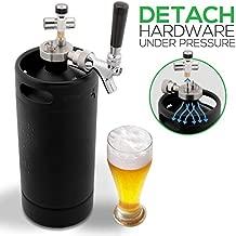 NutriChef PKBRTP110 Mini Keg Detachable Aluminum Regulator & Spout Easy Storage Under Pressure-Homebrew Growler Beer Dispenser, 128oz, Powder Coat Black Matte
