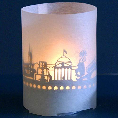 13gramm Wiesbaden-Skyline Windlicht Souvenir in der Geschenk-Box, 3D Edelstahl Aufsatz für Kerze inkl. Kerze, Projektionsschirm