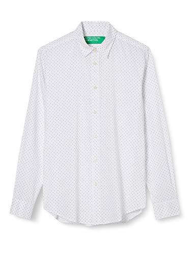 United Colors of Benetton Herren Camicia Hemd, White W/Blue Dots 97v, XL