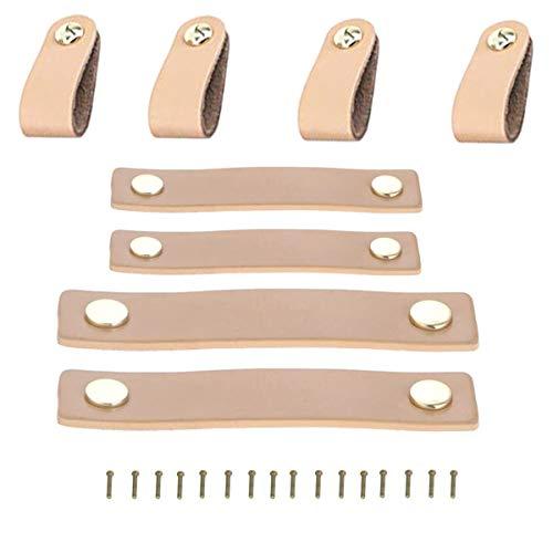 TANGGER 8PCS Tiradores de Cuero para Muebles,Tiradores de Cuero para Armarios y Diseños