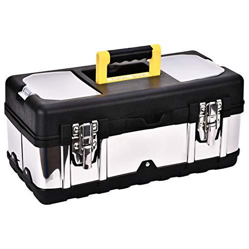 Werkzeugkiste, Toolbox, Werkzeugkiste mit Schlossverschluss, professionelle Werkzeugkiste, Werkzeugkiste leer, Werkzeugkoffer, Werkzeugkiste rutschfest, rostfreier Werkzeugkoffer