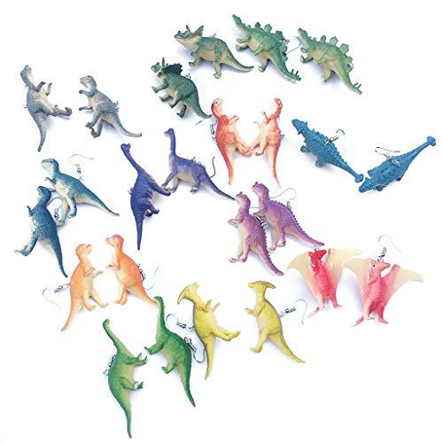 JERKKY Pendientes de Moda Creativa, 12 Pares Pendientes de Gota de Dinosaurio Punk Lindo Conjunto de Resina Pendientes de Dinosaurio de Animales Divertidos para Mujeres Niñas Regalo Creativo