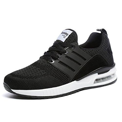 tqgold Herren Damen Sportschuhe Laufschuhe Bequem Atmungsaktives Turnschuhe Sneakers Gym Fitness Leichte Schuhe (Schwarz,Größe 40)
