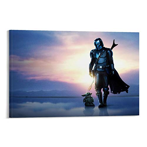 DRAGON VINES Star Wars The Mandalorian Baby Yoda Leinwandbild, Kunstdruck, Poster, Bild, Familie, Wohnzimmer, Club, Dekoration, 60 x 90 cm