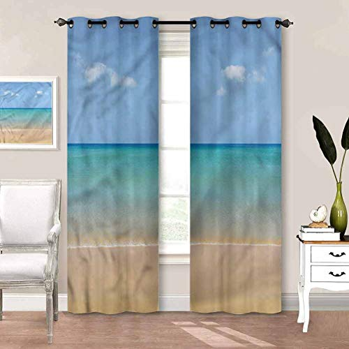 Grommet Window Curtain Ocean, Calm Beach Hot Sun Blackout Patio Door Curtain Panel Keeping Your Room Cool in The Summer W72 x L84 Inch