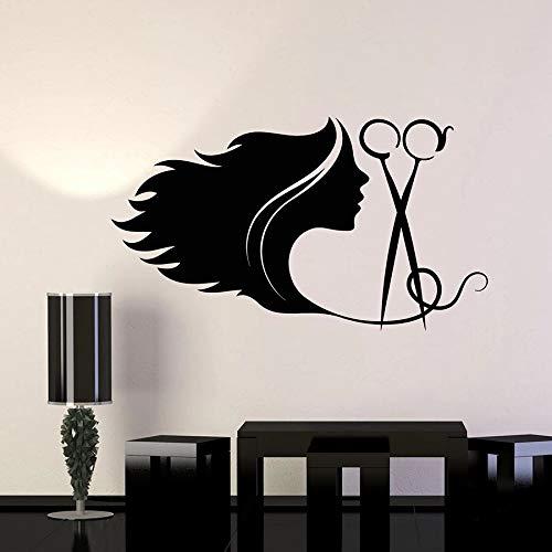 Peinado tatuajes de pared chica abstracta pelo largo salón de belleza decoración de interiores herramientas de corte de pelo vinilo etiqueta de la ventana mural