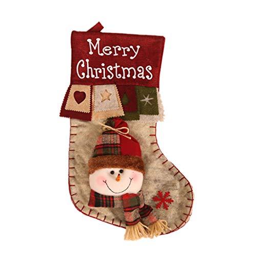 carol -1 Nikolausstiefel Weihnachsstrumpf Hängende Strümpfe für Weihnachtsdeko Nikolausstrumpf zum Befüllen und Aufhängen Weihnachtsmann Schneemann Elch Weihnachten Strumpf für Dekoration