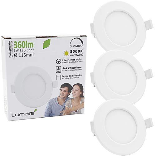 Lumare LED Einbaustrahler Dimmbar 6W 230V IP44 Ultra flach 3er Set Wohnzimmer, Badezimmer Einbauleuchten weiss 26mm Einbautiefe Mini Slim Decken Spot warmweiß