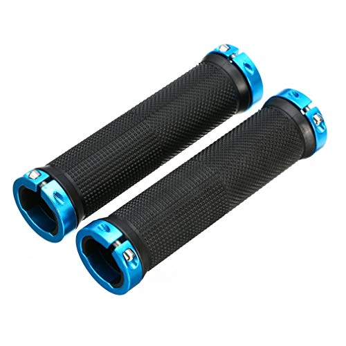 YLYBDDD 1 Pair Bicycle Handlebar Grips Cover MTB Mountain Bicycle Handlebar Grips Lock-On Fixed Gear Rubber Bike Grips Cycling Parts Blue