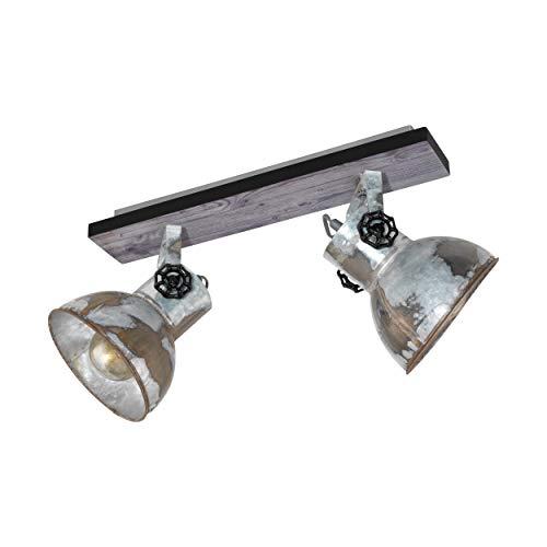 EGLO Deckenlampe Barnstaple, 2 flammiger Vintage Deckenspot im Industrial Design, Retro Wandspot aus Stahl im Zink Used-Look, Holz, Farbe: braun-Patina, schwarz, Fassung: E27