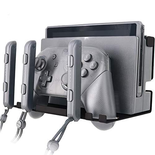 Umora Nintendo Switch用 壁掛けラック ホルダー 金属ラック ウォールシェルフ Joy-Con充電グリップ収納 コントローラー収納用 コンソール対応 スタンド
