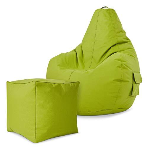 Green Bean Gaming © 2er Sitszack Set - Cozy Sitzsack mit 2 Seitentaschen + Cube Hocker - fertig befüllt - robust, waschbar, schmutzabweisend, wasserfest - für Kinder und Erwachsene - Grün
