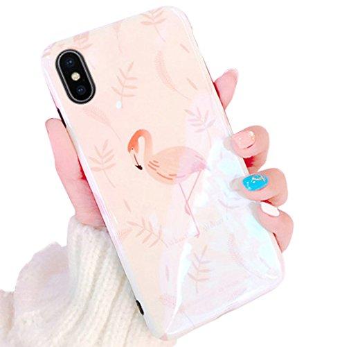 MoreChioce MoreChioce kompatibel mit iphoneX Hülle, iphoneX Hülle Silikon,Premium Blaues Licht Rosa Flamingo Muster Bling Glitzer Brillianter Handy Case Cover Kristall Flexible Case Crystal Case Bumper