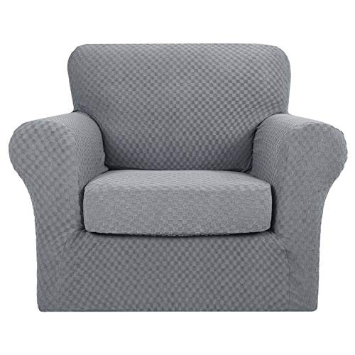 MAXIJIN 2 Piece Newest Jacquard Chair Covers with Arms Super Stretch Non Slip Chair Slipcover for Living Room Dogs Pet Friendly Elastic Sofa Couch Protector Armchair Cover (1 Seater, Light Grey)