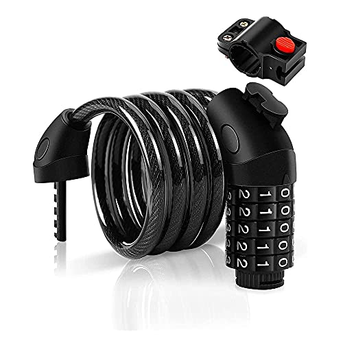 XIEZI Bicycle Bassword Lock Universal Mountain Bike, Electric Motorcycle, Folding Chain Lock, 5-Digit Security Door Lock@B