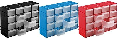 Kigima Sortierkasten Kleinteilemagazin 16 Fächer 22x15x8cm 3er Set Rot, Blau, Schwarz