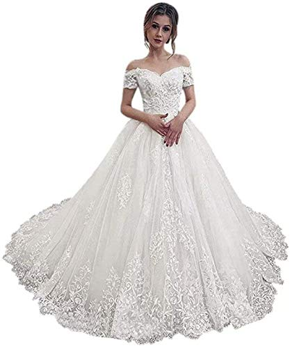 Elliebridal Off Shoulder Women's Sleeves A-Line Bridal Ball Gown Wedding Dresses with Train for Bride Long White Ivory
