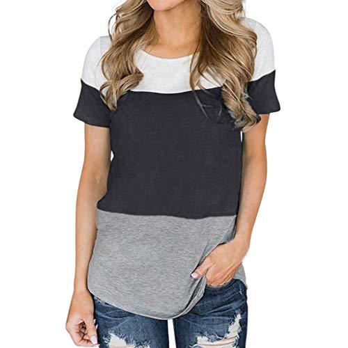 TWIFER Damen Sommer Shirt Verknotet V-Ausschnitt Spitze Strap Kurzarm T-Shirt Top