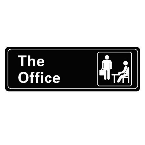 HUJIU The Office Sign SelfAdhesives Sign for Door or Wall 9 X 3 Inch Premium Acrylic Design Name Plate Black and White